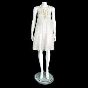 FREE PEOPLE gauze Semi Sheer Lace & Bead Dress 0